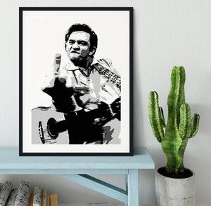 Johnny Cash Middle Finger Framed Print - Canvas Art Rocks - 1