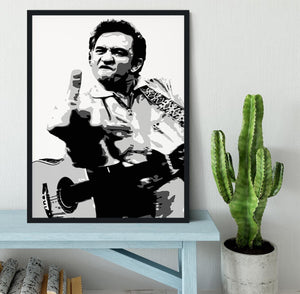 Johnny Cash Middle Finger Framed Print - Canvas Art Rocks - 2