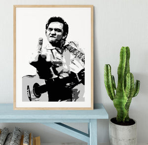 Johnny Cash Middle Finger Framed Print - Canvas Art Rocks - 3