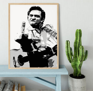 Johnny Cash Middle Finger Framed Print - Canvas Art Rocks - 4