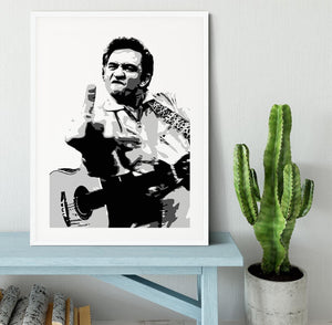 Johnny Cash Middle Finger Framed Print - Canvas Art Rocks - 5