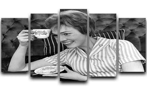 Julie Andrews with a cup of tea 5 Split Panel Canvas  - Canvas Art Rocks - 1