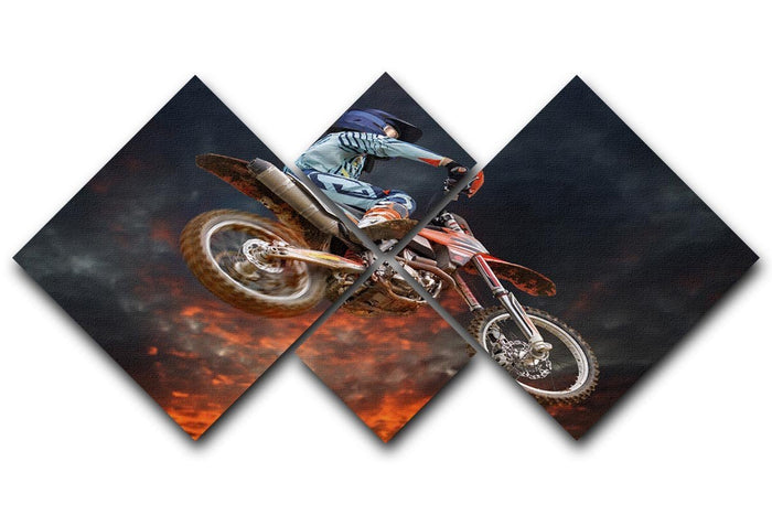Jumping motocross rider 4 Square Multi Panel Canvas