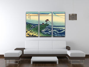 Kajikazawa in Kai province by Hokusai 3 Split Panel Canvas Print - Canvas Art Rocks - 3