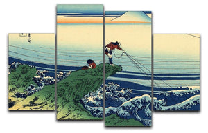 Kajikazawa in Kai province by Hokusai 4 Split Panel Canvas  - Canvas Art Rocks - 1