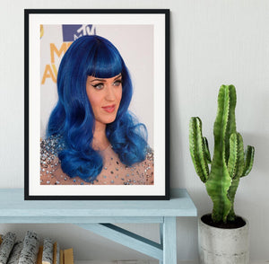 Katy Perry in blue Framed Print - Canvas Art Rocks - 1