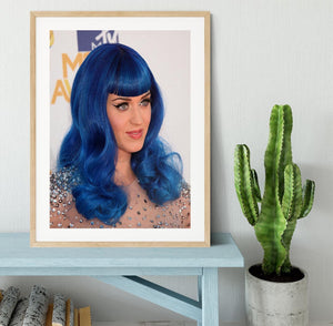 Katy Perry in blue Framed Print - Canvas Art Rocks - 3