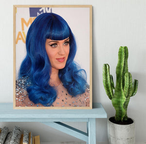 Katy Perry in blue Framed Print - Canvas Art Rocks - 4