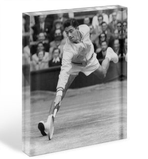 Ken Rosewall in action at Wimbledon Acrylic Block - Canvas Art Rocks - 1