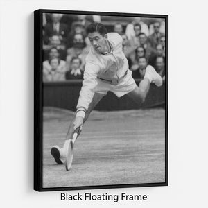 Ken Rosewall in action at Wimbledon Floating Frame Canvas