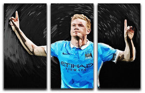 Kevin De Bryne Man City 3 Split Panel Canvas Print - Canvas Art Rocks - 1