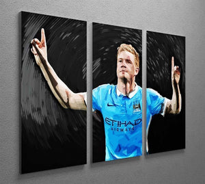 Kevin De Bryne Man City 3 Split Panel Canvas Print - Canvas Art Rocks - 2