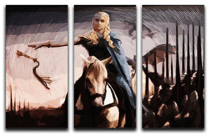 Khaleesi On A Black Horse 3 Split Panel Canvas Print - Canvas Art Rocks - 4