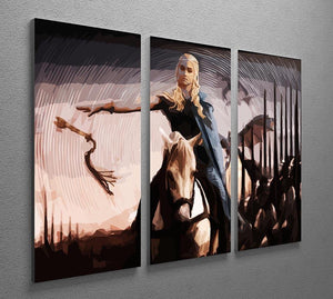 Khaleesi On A Black Horse 3 Split Panel Canvas Print