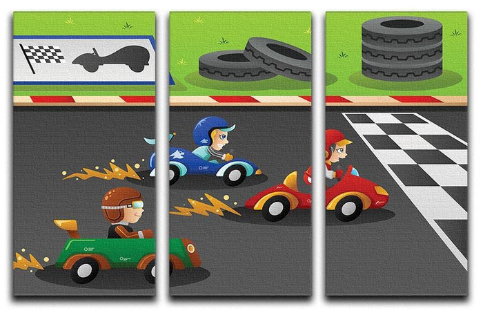 Kids in a car racing 3 Split Panel Canvas Print