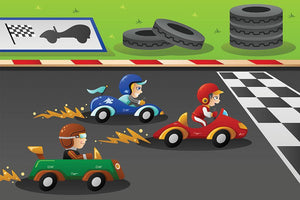 Kids in a car racing Wall Mural Wallpaper - Canvas Art Rocks - 1
