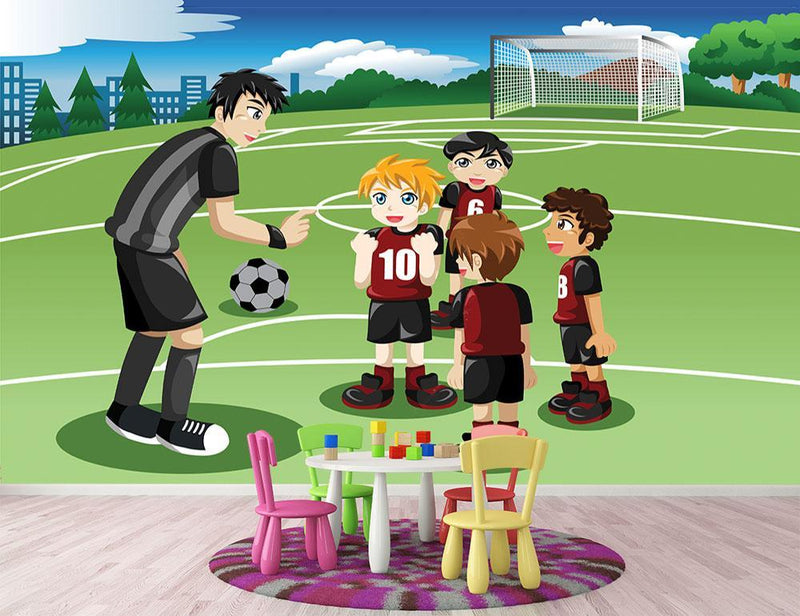 Kids in soccer field listening to their coach Wall Mural Wallpaper - Canvas Art Rocks - 1