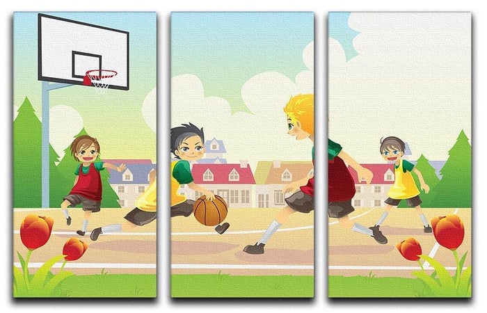Kids playing basketball in the suburban area 3 Split Panel Canvas Print