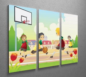 Kids playing basketball in the suburban area 3 Split Panel Canvas Print - Canvas Art Rocks - 2