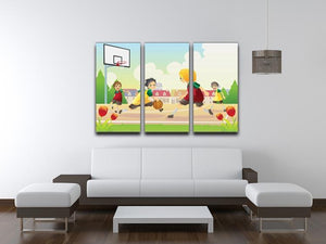 Kids playing basketball in the suburban area 3 Split Panel Canvas Print - Canvas Art Rocks - 3