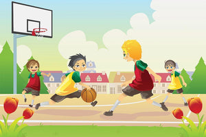 Kids playing basketball in the suburban area Wall Mural Wallpaper - Canvas Art Rocks - 1