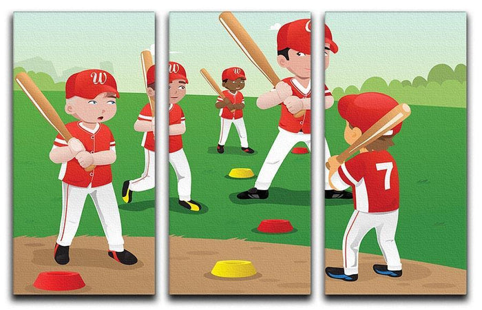 Kids practicing baseball 3 Split Panel Canvas Print