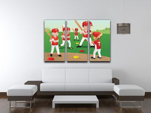 Kids practicing baseball 3 Split Panel Canvas Print - Canvas Art Rocks - 3