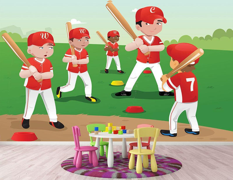 Kids practicing baseball Wall Mural Wallpaper - Canvas Art Rocks - 1