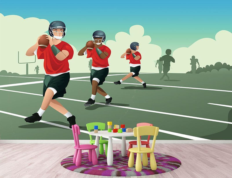 Kids practicing football Wall Mural Wallpaper - Canvas Art Rocks - 1