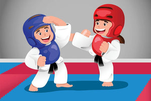 Kids practicing taekwondo in a dojo Wall Mural Wallpaper - Canvas Art Rocks - 1