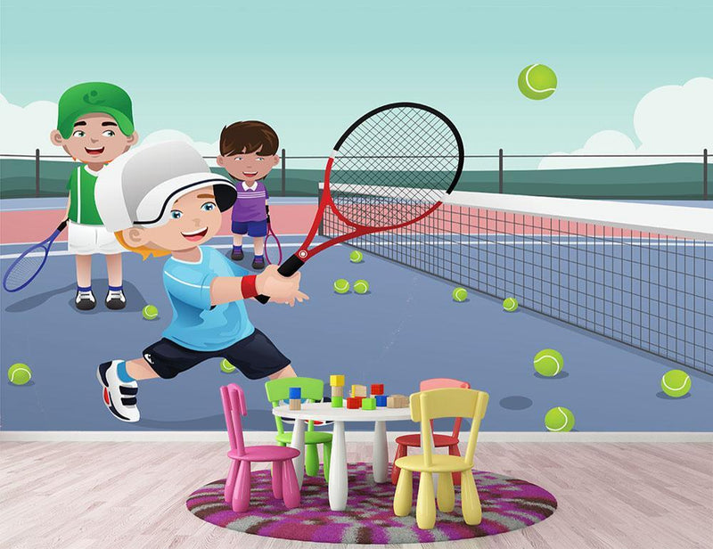 Kids practicing tennis Wall Mural Wallpaper - Canvas Art Rocks - 1