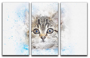 Kitten Painting 3 Split Panel Canvas Print - Canvas Art Rocks - 1