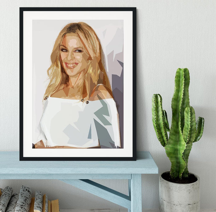 Kylie Minogue in white Pop Art Framed Print