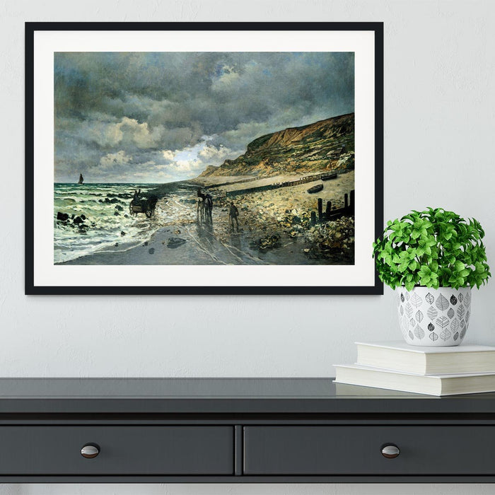 La Pointe del Heve at low tide by Monet Framed Print
