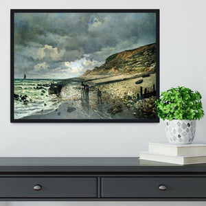 La Pointe del Heve at low tide by Monet Framed Print - Canvas Art Rocks - 2