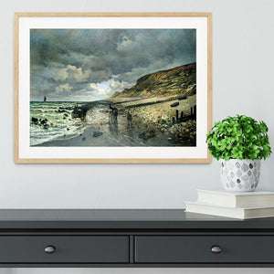 La Pointe del Heve at low tide by Monet Framed Print - Canvas Art Rocks - 3