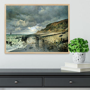 La Pointe del Heve at low tide by Monet Framed Print - Canvas Art Rocks - 4