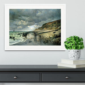 La Pointe del Heve at low tide by Monet Framed Print - Canvas Art Rocks - 5