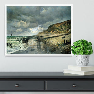 La Pointe del Heve at low tide by Monet Framed Print - Canvas Art Rocks -6