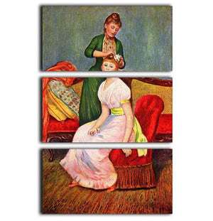 La coiffure by Renoir 3 Split Panel Canvas Print - Canvas Art Rocks - 1