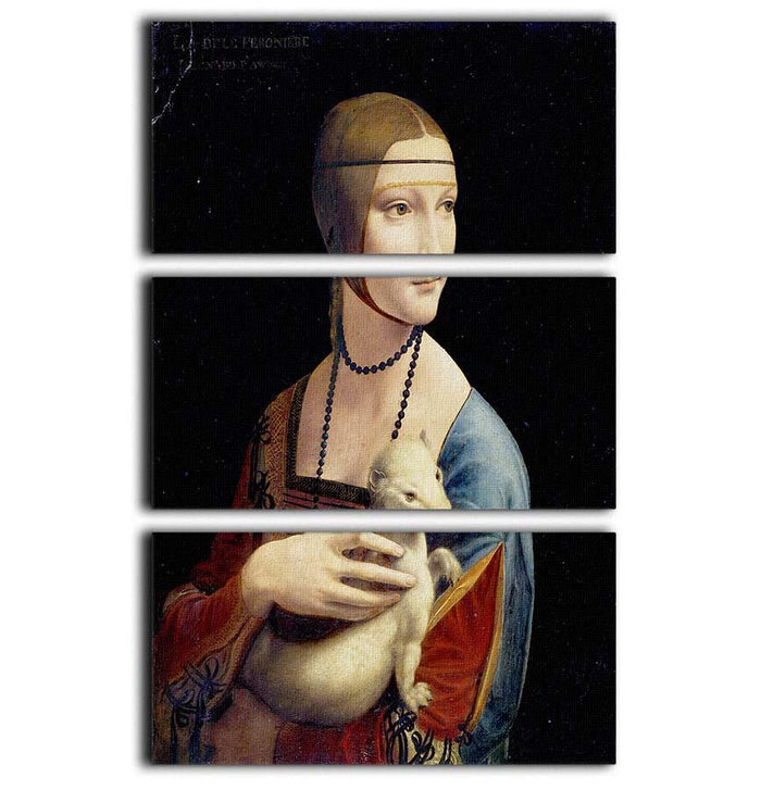 Lady with an Ermine by Da Vinci 3 Split Panel Canvas Print