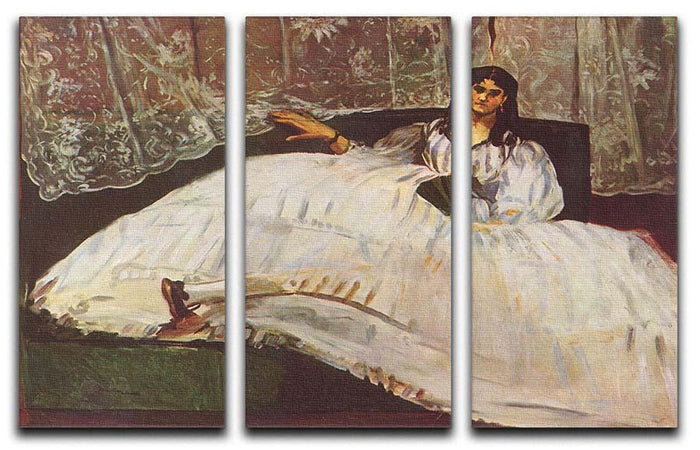Lady with fan by Manet 3 Split Panel Canvas Print