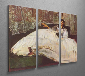 Lady with fan by Manet 3 Split Panel Canvas Print - Canvas Art Rocks - 2