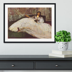 Lady with fan by Manet Framed Print - Canvas Art Rocks - 1