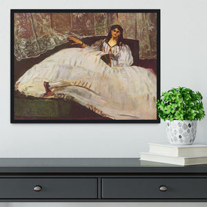 Lady with fan by Manet Framed Print - Canvas Art Rocks - 2