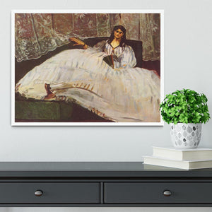 Lady with fan by Manet Framed Print - Canvas Art Rocks -6