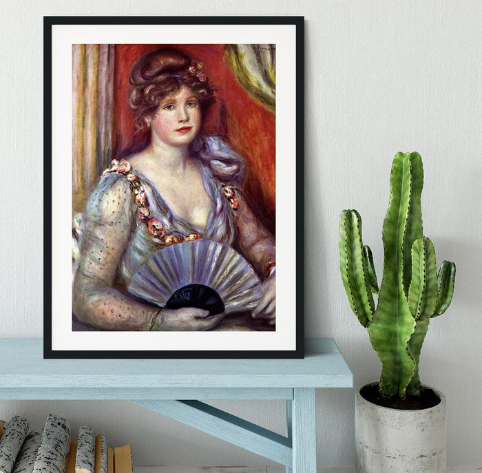 Lady with fan by Renoir Framed Print