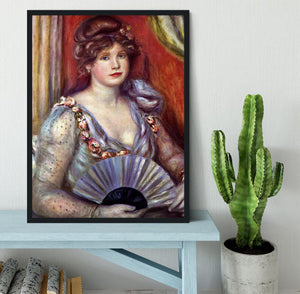 Lady with fan by Renoir Framed Print - Canvas Art Rocks - 2