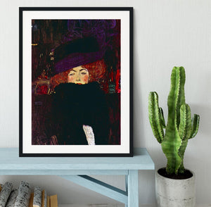 Lady with hat and feather by Klimt Framed Print - Canvas Art Rocks - 1