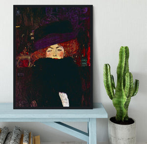 Lady with hat and feather by Klimt Framed Print - Canvas Art Rocks - 2
